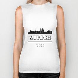 ZURICH SWITZERLAND BLACK SILHOUETTE SKYLINE ART Biker Tank