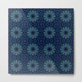 Teal Blue Delicate Electric Flowers Metal Print