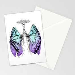 Butterfly Lungs Blue Purple Stationery Cards