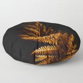 Minimalist Brown Autumn Fern Leaf Black Background Foliage Photography Floor Pillow