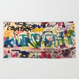 Urban Graffiti Paper Street Art Beach Towel