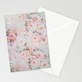 Vintage romantic blush pink teal bohemian roses floral Stationery Cards