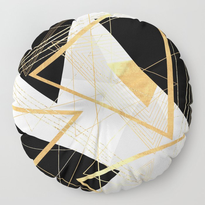 Black and Gold Geometric Floor Pillow