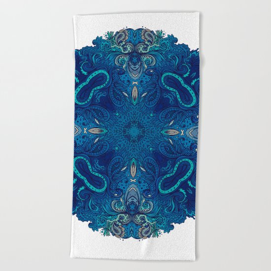 Blue Cobalt Indian Mandala Beach Towel