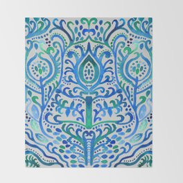 Sapphire and Emerald Watercolor Tulip Damask Throw Blanket