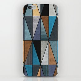 Colorful Concrete Triangles - Blue, Grey, Brown iPhone Skin