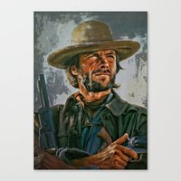 clint eastwood Canvas Prints featuring  Clint Eastwood by andy551