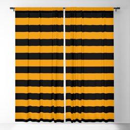 Stripes (Black & Classic Orange Pattern) Blackout Curtain