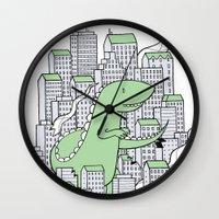 godzilla Wall Clocks featuring Godzilla by Mild Peril Media