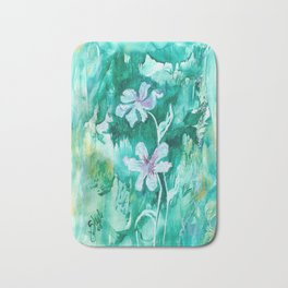 Green encaustic flowers Bath Mat