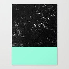 Mint Meets Black Marble #1 #decor #art #society6 Canvas Print
