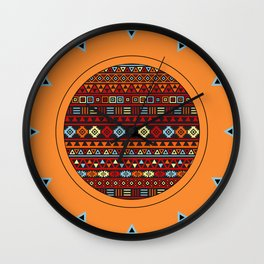Aztec Influence Ptn IV Orange Red Blue Black Yellow Wall Clock
