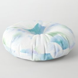 Abstract watercolor pattern, light blue watercolor circles and spots Floor Pillow
