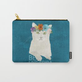 Be like Frida! White cat in flower crown on blue Carry-All Pouch