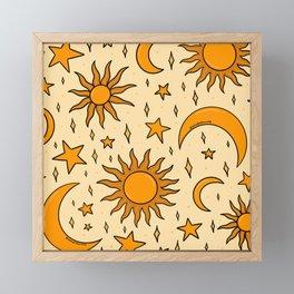 Vintage Sun and Star Print Framed Mini Art Print