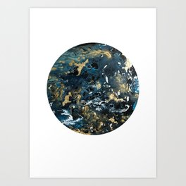 Round Outer Space Planet Earth Art Print
