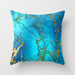 Gold And Teal Blue Indigo Malachite Marble  Throw Pillow