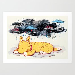 """""""Can a Cat Have an Existential Crisis?"""" by Jackie Ferrentino for Nautilus Art Print"""