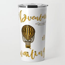 Adventure is Waiting Retro Hot Air Balloon Pilot Travel Mug