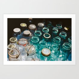 Ball Jars in Blue Art Print