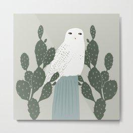 Birds & Botanical Snowy Owl and Opuntia Cactus Metal Print