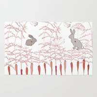 rabbits Area & Throw Rugs featuring Rabbits by Fay's Studio