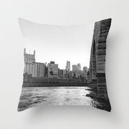 Minneapolis Skyline Black and White at the River Throw Pillow