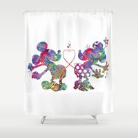 minnie mouse Shower Curtains featuring Mickey Loves Minnie by Bitter Moon