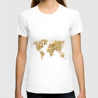 vintage map T-shirts featuring  World Map Yellow Vintage by City Art Posters