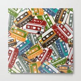 Vintage cassette tape in colour hand drawn vintage illustration pattern Metal Print