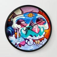 grafitti Wall Clocks featuring Grafitti Clown by Valann