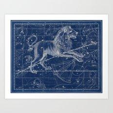 Leo sky star map Art Print