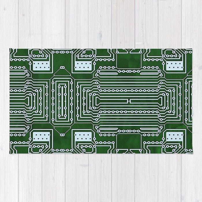 Computer Geek Circuit Board Pattern Rug by diversestuff | Society6