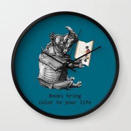Reading Rhino loves books Wall Clock