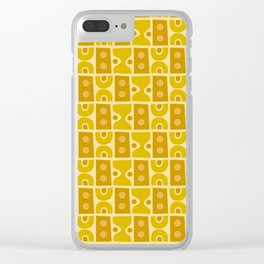 Mid Century Abstract Pattern Yellow Ochre Clear iPhone Case