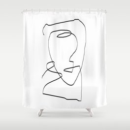 Abstract head, Minimalist Shower Curtain