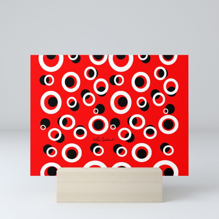 Red White Black Circles Mini Art Print