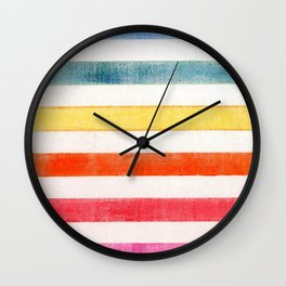 Rainbow stripes on canvas Wall Clock