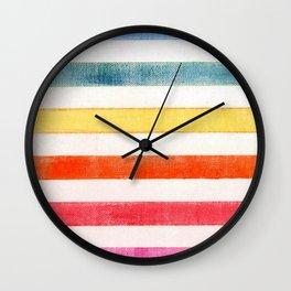 Rainbow stripes on canvas Wall Clock