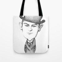 kafka Tote Bags featuring Kafka by Liliana Ostrovsky
