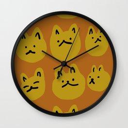Weird Cat Faces - Sienna brown and burnt mustard Wall Clock