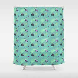 Crows and berries Shower Curtain