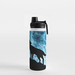 Howling Winter Wolf snowy blue smoke Water Bottle