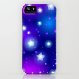 Milky Way Abstract pattern with neon stars on blue background iPhone Case