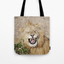 The laughing lion Tote Bag