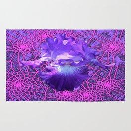 Lavender Purple Iris Dream Catcher Art Rug
