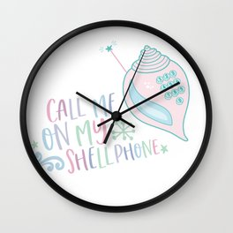 call me on my shell phone! mermaid, cell phone, gift, sea, swimming Wall Clock