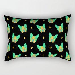 boston terrier - blk pattern Rectangular Pillow