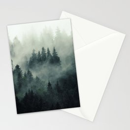 Misty pine forest on the mountain slope in a nature reserve Stationery Cards