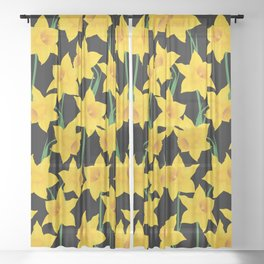 Yellow Daffodils Pattern Sheer Curtain